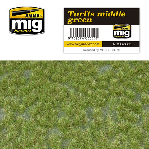 AMMO by MiG Jimenez Realistic ground w/vegetation TURFS MIDDLE GREEN - AMIG8355
