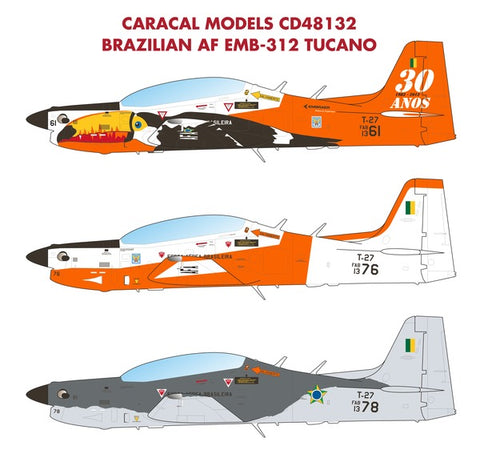 Caracal Model 1/48 scale decals CD 48132 Brazilian AF EMB-312 Tucano
