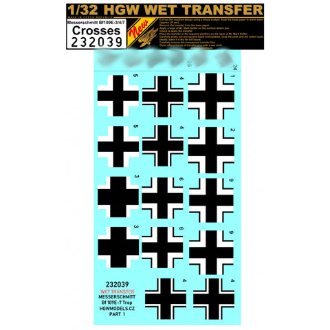 HGW 1/32 scale wet transfer stencils Bf109 E-3/4/7 - crosses - 232039