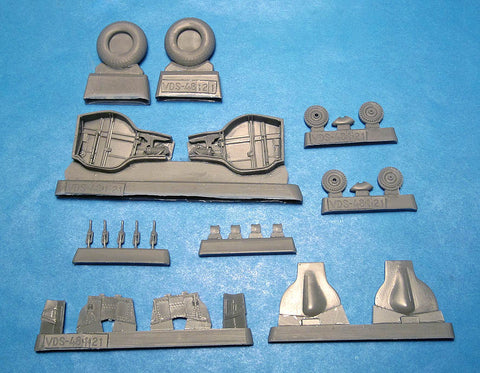 Vector Resin 1/48 scale Wells and Wheels for the MiG-3 by Trumpeter - VDS48121