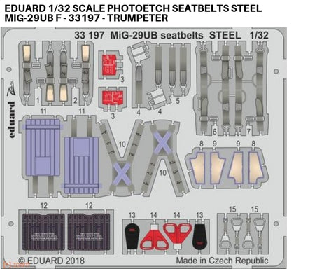 Eduard 1/32 scale Photoetch seatbelts steel MiG-29UB f - 33197 - Trumpeter