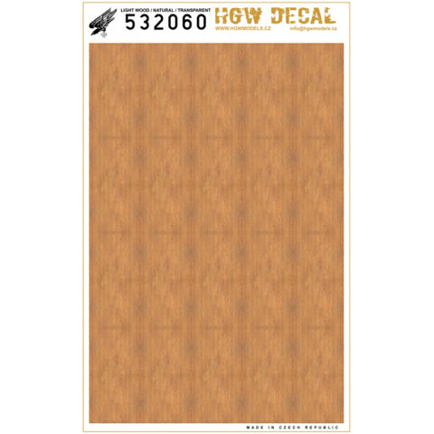 HGW 1/32 Scale decal - Light Wood - Transparent (NO GRID) - 532060