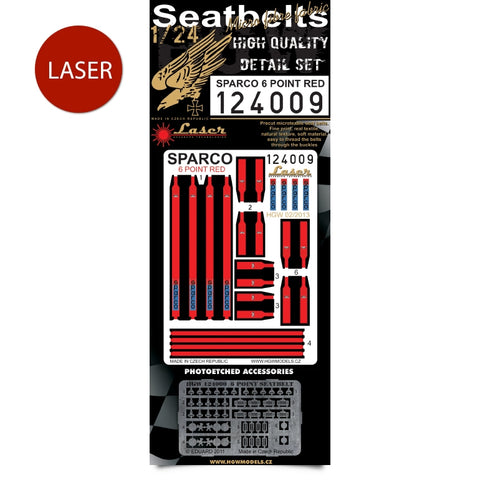 HGW 1/24 Sparco 6 Point Red Seatbelts pre-cut for scale speedcars - 124009