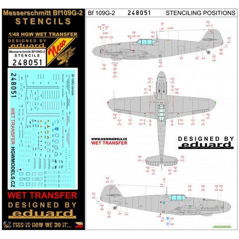 HGW 1/48 wet transfer stencils for Bf109G-2 aircraft kits - 248051