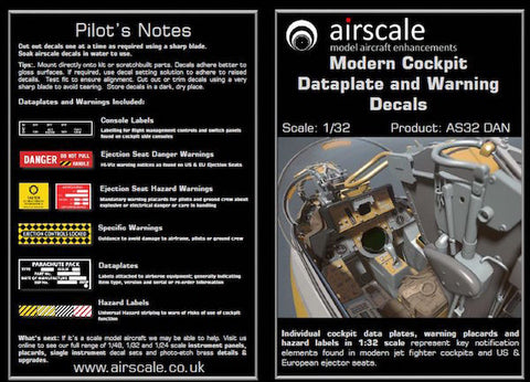 Airscale 1/32 Modern Cockpit Data & Warning decals - AS32 DAN