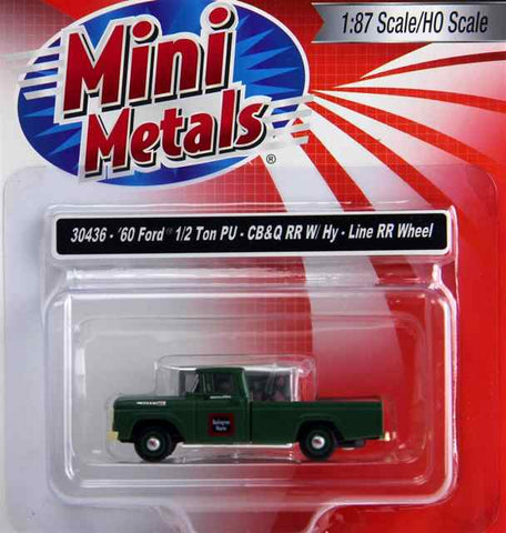 Classic Metal Works - Mini Metals HO scale '60 Ford 1/2 Ton PU - CB&Q RR W/HY-Line RR Wheels #CMW30436