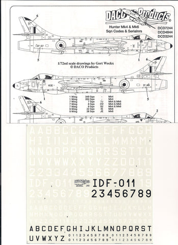 Daco Products 1/48 decal - Hunter Mk4 & Mk6 Sqn & Serial numbers DCD4844