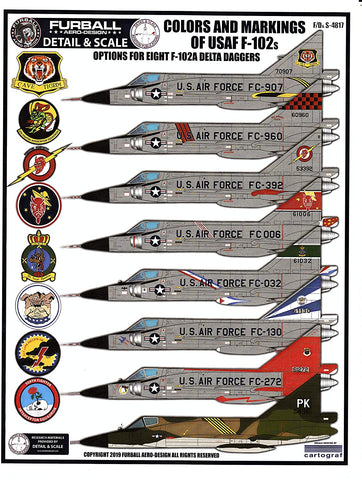 Furball 1/48 decals Colors & Markings of USAF F-102 Delta Daggers FDS4817