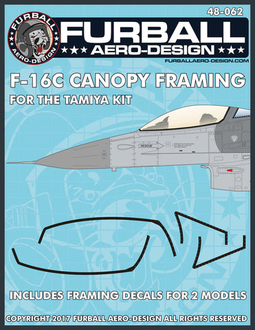 Furball Aero-Design 1/48 F-16C Canopy Framing for Tamiya kit - 48062