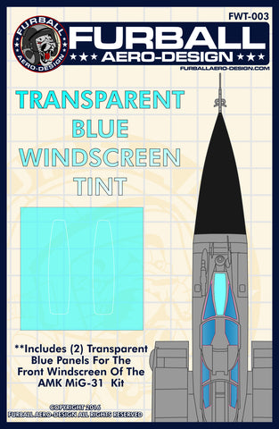 Furball 1/48 MIG-31 Blue Winscreen Tint Film for the AMK Kit - FWT003