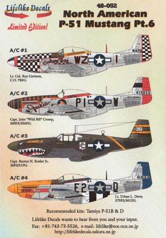 Lifelike Decals 1/48 48-052 P-51B 7 D Mustang Pt.6 Jeanne III Detroit Contrary