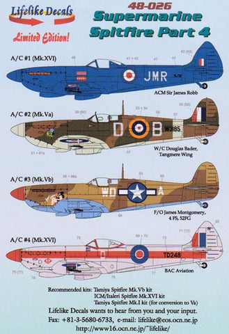 Lifelike 1/48 decal for Spitfire Pt 4 for Tamiya ICM Italeri - 48-026