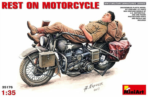 "MiniArt 1/35 scale ""Rest on Motorcycle"" WWII U.S. Motorcylce and Figure #35176"