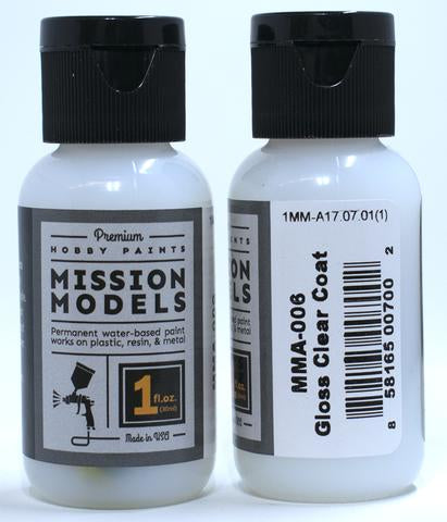 Mission Models Hobby Paints - Gloss Clear Coat 1oz - MMA-006