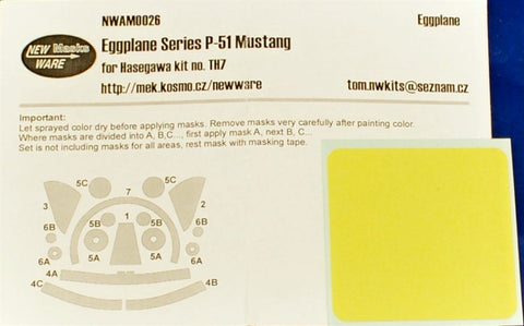New Ware MASK NWAM0026 for Eggplane Series P-51 Mustang HASEGAWA TH7 60117 H0117