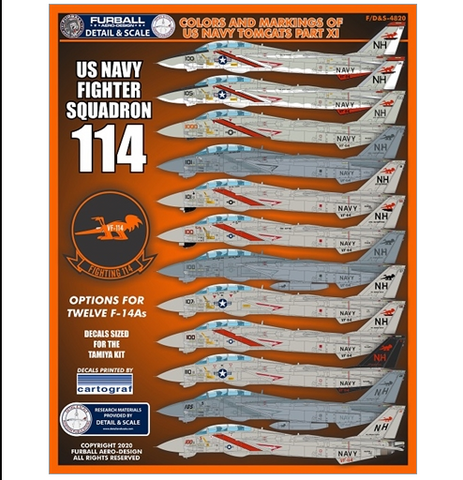 Furball 1/48 decals Colors & Markings of US Navy F-14 Tomcats for Tamiya FDS4820