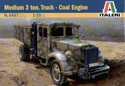 Italeri 1/35 Scale Medium 3 ton. Truck Coal Engine - Armor kit #6457