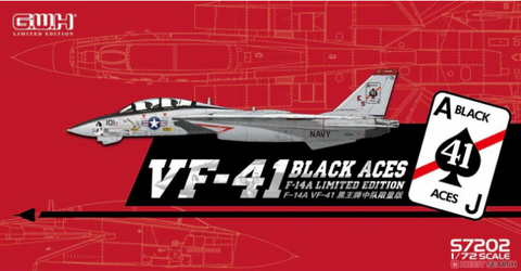 Great Wall Hobby 1/72 scale F-14A Tomcat VF-41 Black Aces Limited Edition kit  - S7202