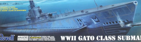 Revell 1/72 Scale WWII Gato Class Submarine  model kit #85-0384 - See Description
