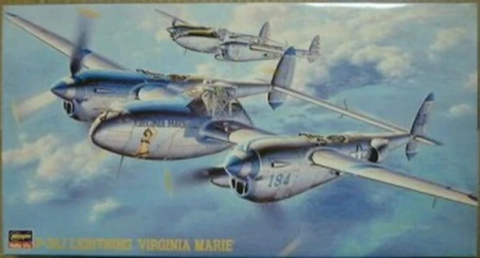 Hasegawa 1/48 Scale P-38J Lightning 'Virginia Marie' - model kit# 09101