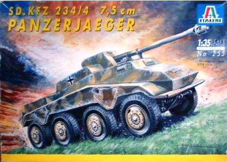 ITALERI 1/35 Scale Sd.Kfz. 234/4 7.5 cm Panzerjaeger model kit #255