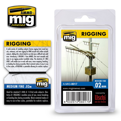 AMMO of MiG (licensed by Uschi) RIGGING WIRE – MEDIUM FINE 0.02 MM - 2 meters - AMIG8017