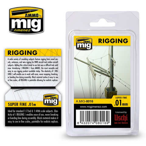 AMMO of MiG (licensed by Uschi) RIGGING WIRE – SUPER FINE 0.01 MM - 2 meters - AMIG8016