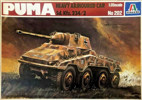 ITALERI 1/35 Scale Puma Heavy Armoured Car Sd.Kfz.234/2 model kit #202