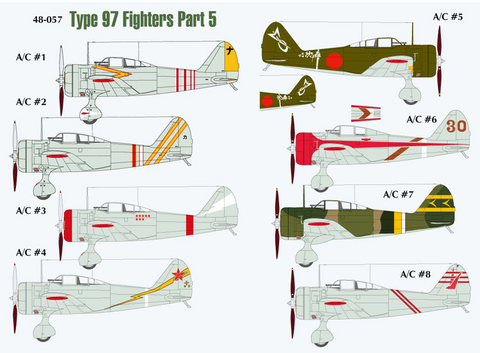 Lifelike 1/48 decals Type 97 Fighters Ki-27 Nate Part 5 for Hasegawa - 48-057