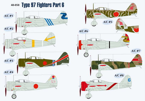 Lifelike 1/48 decals Type 97 Fighters Ki-27 Nate Part 6 for Hasegawa - 48-058