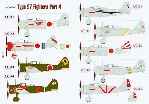 Lifelike 1/48 decals Type 97 Fighters Ki-27 Nate Part 4 for Hasegawa - 48-056