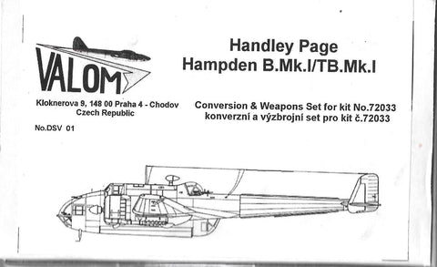 Valom Resin 1/72 Handley Page Hampden B.Mk.I/TB.Mk.I conversion & weapons set - DSV01