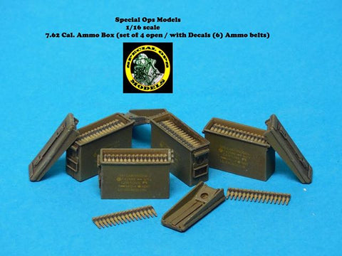Special Ops 1/16 scale Modern Equip 7.62 Cal Ammo Boxes open w/belts & decals x4