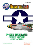 BarracudaCals 1/48 scale decal P-51D Cockpit Stencils and Placards - BC48361