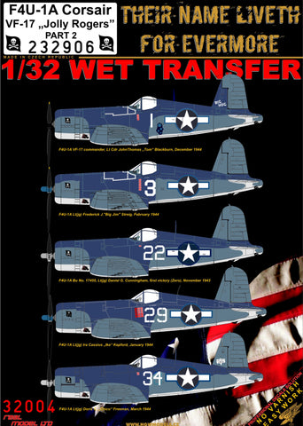 HGW 1/32 wet transfers for F4U-1A Corsair VF-17 Jolly Rogers Part 2 - 232906