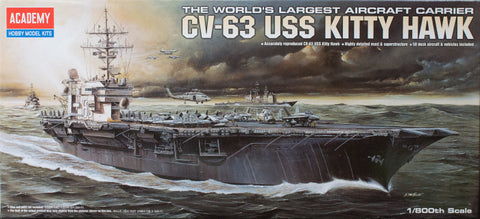 Academy 1/800 Scale Cv-63 USS Kitty Hawk - Plastic Kit #14210