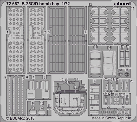 Eduard 1/72 Photoetch detail 72667 - B-25C/D bomb bay for Airfix