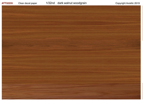 Aviattic 1/32 clear decal paper Walnut/birch/mahogany woodgrain dark - ATT32235