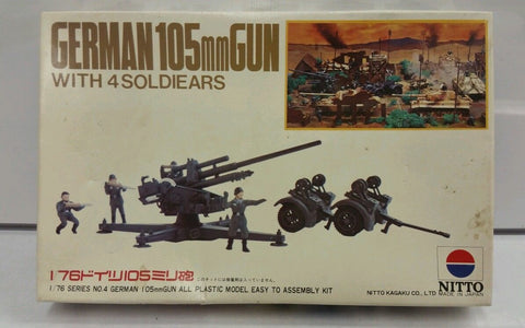 Nitto 1/76 scale German 105mm Gun w/4 Soldiers 444-250 - Old stock kit