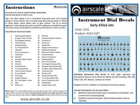 Airscale 1/48 scale Early Allied Jets Instrument Dial Cockpit decals AS48AJET