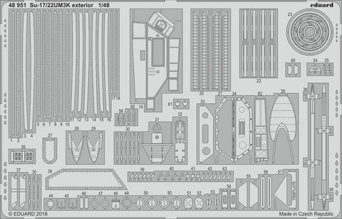 Eduard 1/48 scale Photoetch 48951 - Su-17/22UM3K exterior detail for Kitty Hawk
