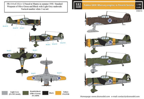 SBS Model 1/48 decal for Fokker DXXI (Mercury engine) - D48016