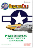 Barracuda Cals 1/32 P-51D Mustang Cockpit Stencils & Placards for Tamiya BC32010