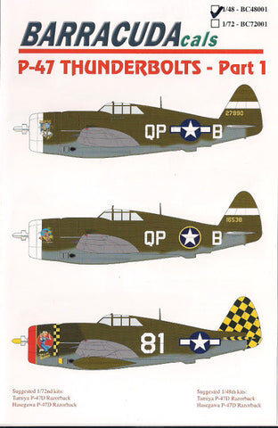 Barracuda Cals 1/48 P-47 Thunderbolts Part 1 BC48001
