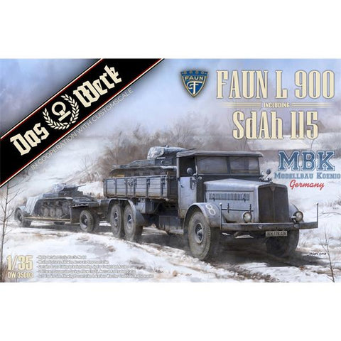Das Werk 1/35 scale Faun L900 including Sd.Ah.115 Trailer kit - DW35003
