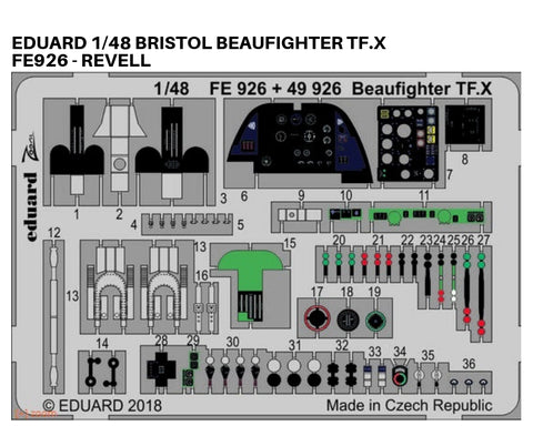 Eduard 1/48 Photoetch detail for Bristol Beaufighter TF.X by Revell - FE926