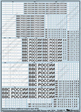 1/72 Begemot decal Russian Air Force insignia (type 2010) Pt 2 72049