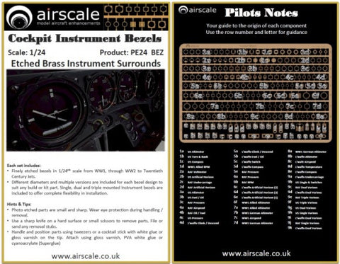 Airscale 1/24 photo etch aircraft instrument bezels PE24BEZ
