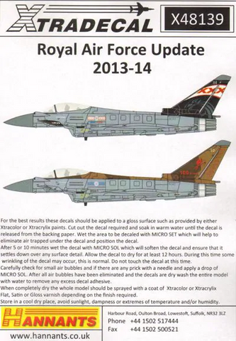 XTRADECAL 1/48 48139 ROYAL AIR FORCE UPDATE 2013 - 14