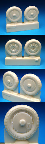 1/32 BarracudaCast Bf 109G Wheels - Ribbed Hub, Ribbed Tire BR32070